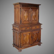 French Walnut Buffet a Deux Corps Armoire Cabinet