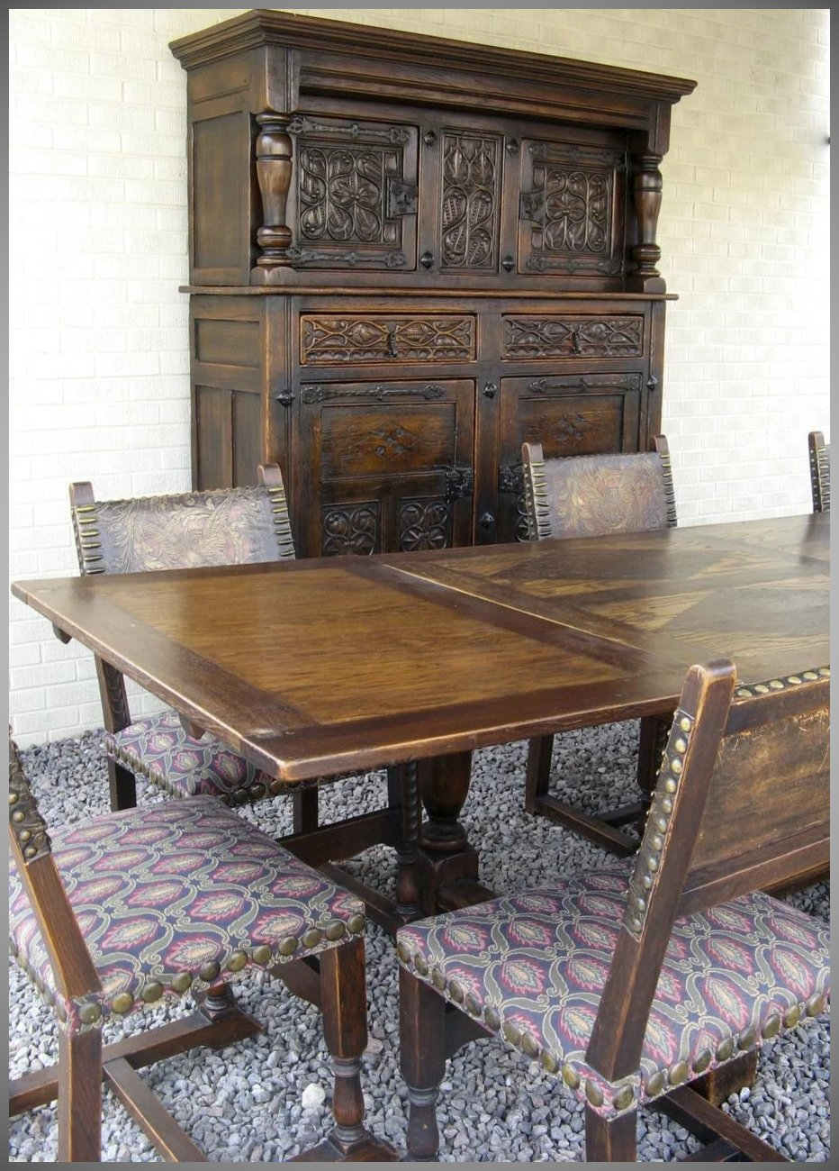 French Gothic Revival Dining Room Set Table Chairs Court