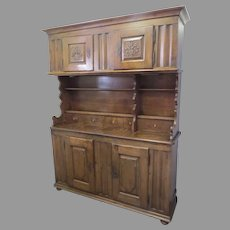 Swiss Walnut Cupboard Carved Panel Armorial Family Crest