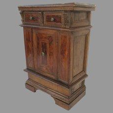 Italian Baroque Walnut Credenza Two Drawers One Door Bracket Foot