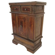 Italian Baroque Walnut Credenza Two Drawers One Door Bracket Foot