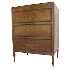 Italian Walnut Commode Three Drawers Parquetry and Marquetry