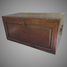 Vintage Older Chinese Painted Stained Wood with Side Lift Handles Trunk Chest Coffee Table