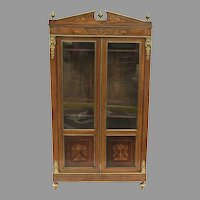 19th Century French Inlaid Marquetry Display Bookcase Cabinet with a Pair Partial of Glass Doors