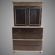 Anglo Indian Cupboard Linen Press Rosewood Carved Painted Detail 19th Century