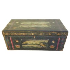 19th Century Traditional Mexican Lacquered and Hand Painted Blanket Chest Olinala Guerrero