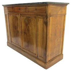 Louis Philippe Marble-Top Buffet French Two-Door Three-Drawer 19th C