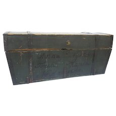 1860's Painted Immigrants Trunk Swedish Iron Hardware Country Primitive Farmhouse