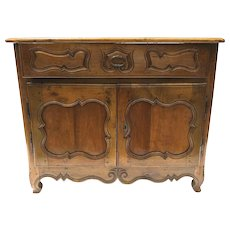 19th Century French Fruitwood Buffet with One Drawer and Two Shaped Paneled Doors