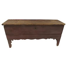 Great Old Dusty Brick Color Painted 6 Board Cotter Pin Hinges 18th Century Long Narrow Chest High Feet