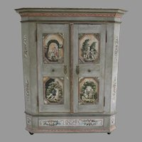 Early 19th Century European Painted Armoire Cabinet