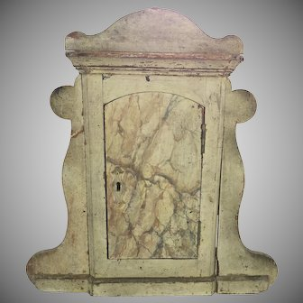 19th Century Italian Carved Faux Marble Painted Reliquary Cabinet with Door and Shaped Sides Niche