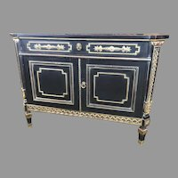 Lingel Ebonized Commode Cabinet with Secretaire Drawer Desk Sideboard