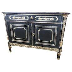 Lingel Ebonized Commode Cabinet with Secretaire Drawer Desk Sideboard