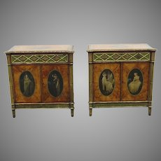 Pair of Side Cabinets Bedside in Satinwood Painted and Gilt Adam Revival