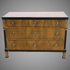 Small Biedermeier Three Drawer Chest of Drawers Commode with Ebonized Side Columns c 1840