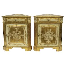Pair of Vintage Italian Florentine Gilt and White Painted Corner Cabinets Night Stands