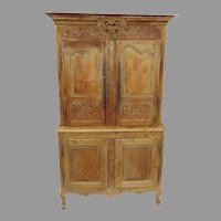 French Early 19th Century Buffet a Deux Corps Four Doors Carved Bouquet