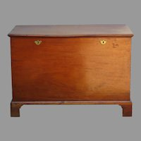 18th Century Blanket Chest Lift Top Bracket Foot Double Lock Diminutive