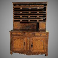 French Elm Vasselier with Figured Wood, Three Drawers, Shelves, and Doors