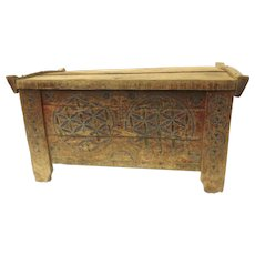Hinged Lift Top Alpine Polychrome Painted Chest Trunk