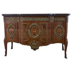 Fine French Louis XVI Style Ormolu Mounted Marquetry Commode with Marble Top