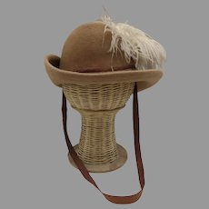 Vintage Marshall Fields Hat with Feather Musketeers