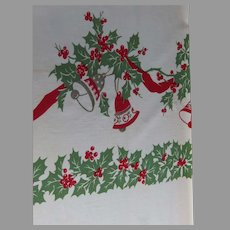 """Large 61"""" by 76"""" Vintage Christmas Holly and Bells Vintage Tablecloth '50s"""