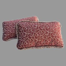 Pair of Vintage Long Rectangular Pillows Cushions Red Swirl Fabric with Trim