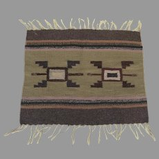 Vintage Chimayo Hand Made Weaving Wall Hanging Rug Subtle Colors Southwestern
