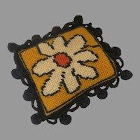 Adorable Vintage Pin Cushion Needlepoint Ball Trim Daisy Flower