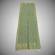 Vintage Hand Woven Silk Dupatta Metallic Thread Fringe Made in India Motif Animals Elephants