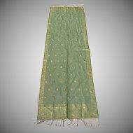 Vintage Hand Woven Silk Dupatta Metallic Thread Fringe Made in India Motif Animals Elephants