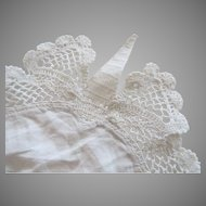 "Vintage Crochet Lace Linen Doily 15"" Centerpiece Pocket Square Re-Purpose"