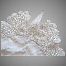 """Vintage Crochet Lace Linen Doily 15"""" Centerpiece Pocket Square Re-Purpose"""