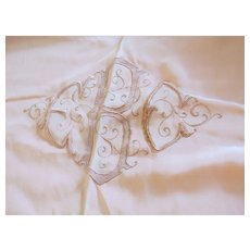 "Pair Two Vintage Bed Cover Blanket Bedspreads Embroidered Monogram Fine Quality 70"" by 68 1/2"""