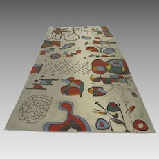 Vintage Huge Chainstitch Tapestry Wall Hanging by Flora Jacobson Signed Miro Influence 13' by 7'