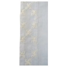 Pair Light Blue Linen Embroidered King Pillow Covers Cases