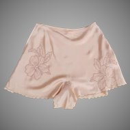 Vintage 1930's 1940's Tap Pants Peach Applique Embroidered Flower Motif