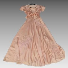 Quite Exquisite Vintage 1930's 1940's Peach Nightgown and Matching Bed Jacket Trousseau Negligee