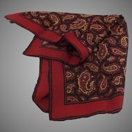 Vintage ASHEAR Italian Italy Navy Gold Red Paisley 100% Silk Mens Pocket Square Handkerchief