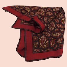e881dc7084a Vintage ASHEAR Italian Italy Navy Gold Red Paisley 100% Silk Mens Pocket  Square Handkerchief