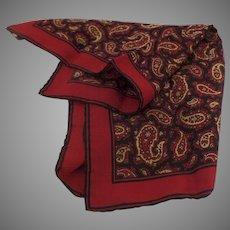 Vintage ASHEAR Italian Italy Navy Gold Red Paisley 100% Silk Mens Pocket Square Handkerchief