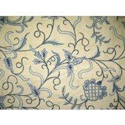 2 x Vintage Blue Crewel Curtain Panels Fabric