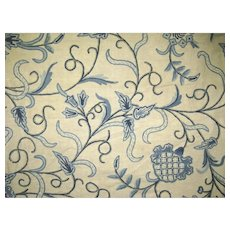 2 x Vintage Blue Crewel Curtain Panels Fabric