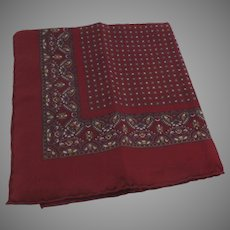 Vintage 100% Silk Pocket Square Made in Italy Red Burgundy Handkerchief
