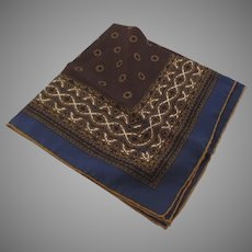 Vintage 100% Silk Pocket Square Made in Italy Blues Browns Handkerchief