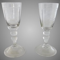 """2 x Vintage Large 9"""" Bohemian Etched Glass Goblets Fox Hunting Dogs Scene Goblets"""