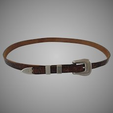 Vintage Western Tooled Leather Belt and Buckle