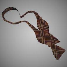 Vintage 1970's Adjustable Silk Bow Tie Paul Stuart